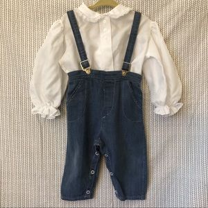 Vintage Girls Overalls and Top
